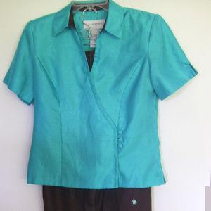 Sag Harbor Size 8 Short Sleeve Top Crop Pants Set